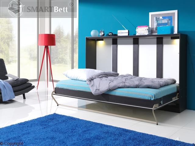 schrankbett smartbett murphy bed querbett 90x200 cm horizontal wenge mooreiche ebay. Black Bedroom Furniture Sets. Home Design Ideas