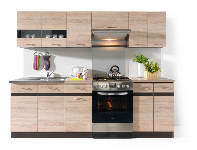 k che k chenzeile einbauk che kitchen set junona 240cm in 2 farben ebay. Black Bedroom Furniture Sets. Home Design Ideas