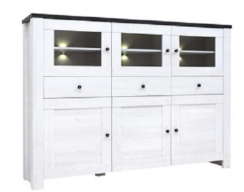 sideboard kommode antwerpen mit 3 t ren 3 glast ren und 3 schubladen ebay. Black Bedroom Furniture Sets. Home Design Ideas