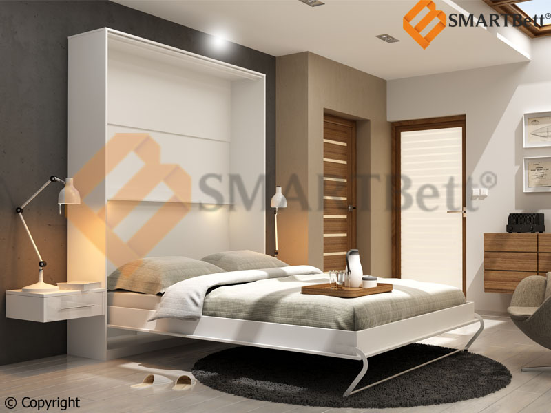 schrankbett murphy bed klappbett g stebett smartbett 160 weiss gasdruckfedern ebay. Black Bedroom Furniture Sets. Home Design Ideas