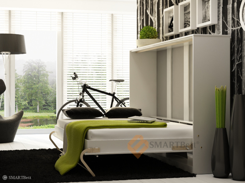 schrankbett murphy bed querbett smartbett 140cm horizontal wei hochglanz ebay. Black Bedroom Furniture Sets. Home Design Ideas