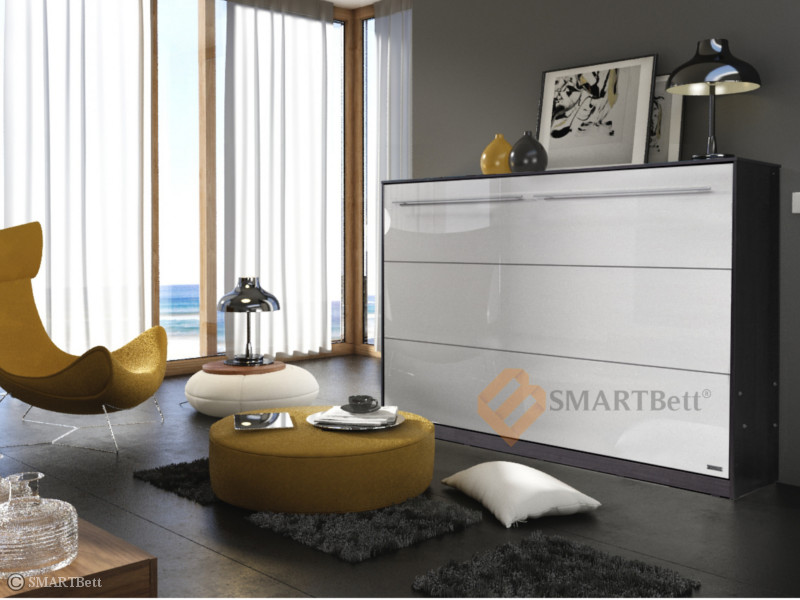 schrankbett murphy bed smartbett 140cm horizontal wenge wei hochglanz front ebay. Black Bedroom Furniture Sets. Home Design Ideas