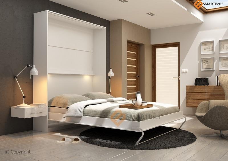 klappbett gaestebett schrankbett smartbett 140cm vertikal wei. Black Bedroom Furniture Sets. Home Design Ideas