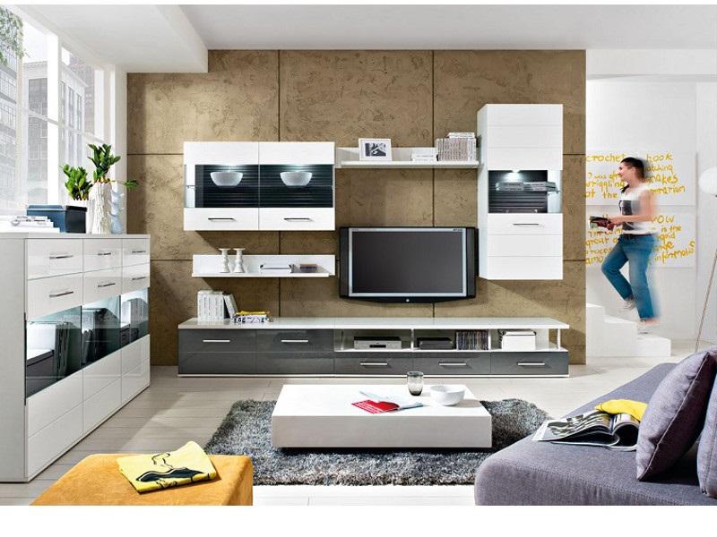 Wohnwand komplett living room avila 6 tlg grau mit for Wohnzimmer komplett angebot