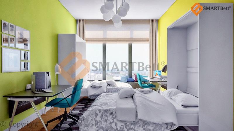 schrankbett murphy bed klappbett smartbett 160x200 wei hochglanz gasdruckfedern ebay. Black Bedroom Furniture Sets. Home Design Ideas