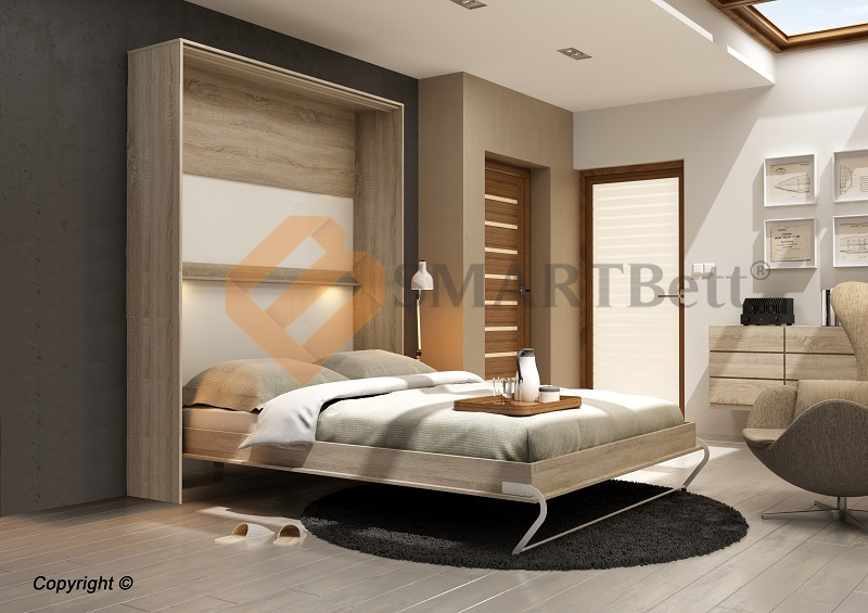 schrankbett murphy bed klappbett smartbett 160x200 eiche sonoma front wei ebay. Black Bedroom Furniture Sets. Home Design Ideas
