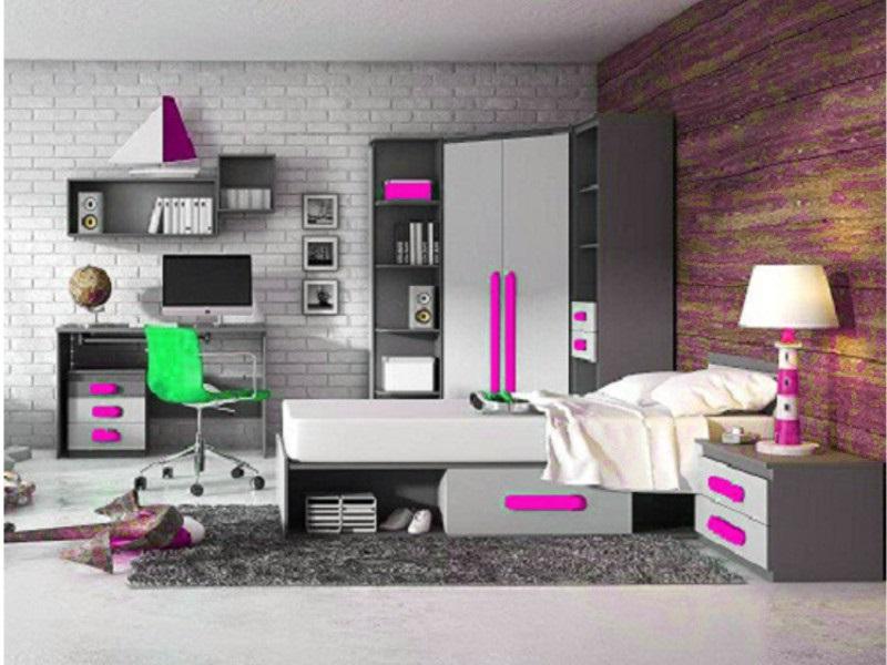 kinderbett play bett jugendbett inkl matratze anthrazit grau pink ebay. Black Bedroom Furniture Sets. Home Design Ideas