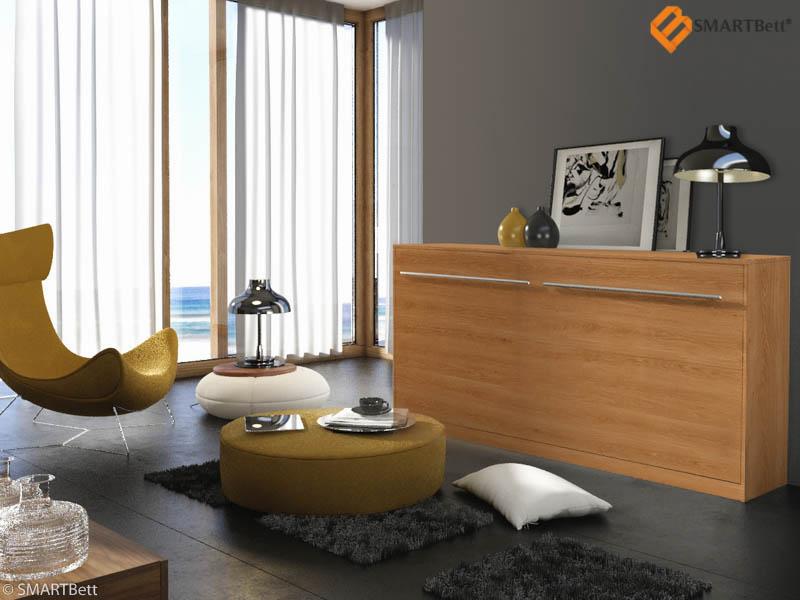 klappbett querbett schrankbett smartbett 90cm horizontal buche ebay. Black Bedroom Furniture Sets. Home Design Ideas