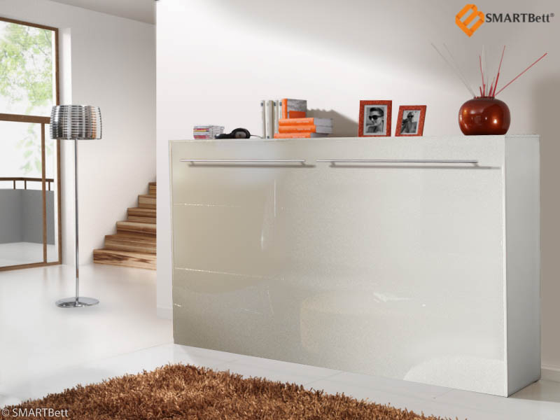 schrankbett murphy bed querbett smartbett 120cm horizontal wei hochglanz ebay. Black Bedroom Furniture Sets. Home Design Ideas