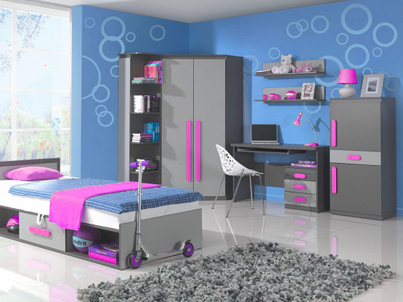 jugendzimmer set kinderzimmer komplett play 02 5 tlg pink kindermoebel ebay. Black Bedroom Furniture Sets. Home Design Ideas