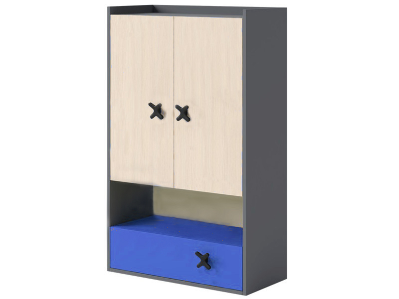 regal iks mit 2 t ren und schublade schrank anthrazit eiche creme royal blau ebay. Black Bedroom Furniture Sets. Home Design Ideas