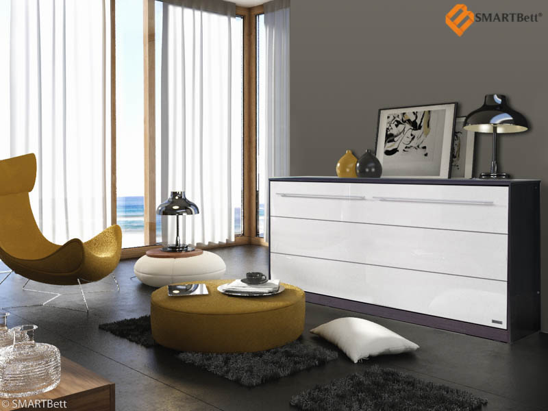 schrankbett murphybed smartbett 90x200 horizontal wenge wei e hochglanz front ebay. Black Bedroom Furniture Sets. Home Design Ideas