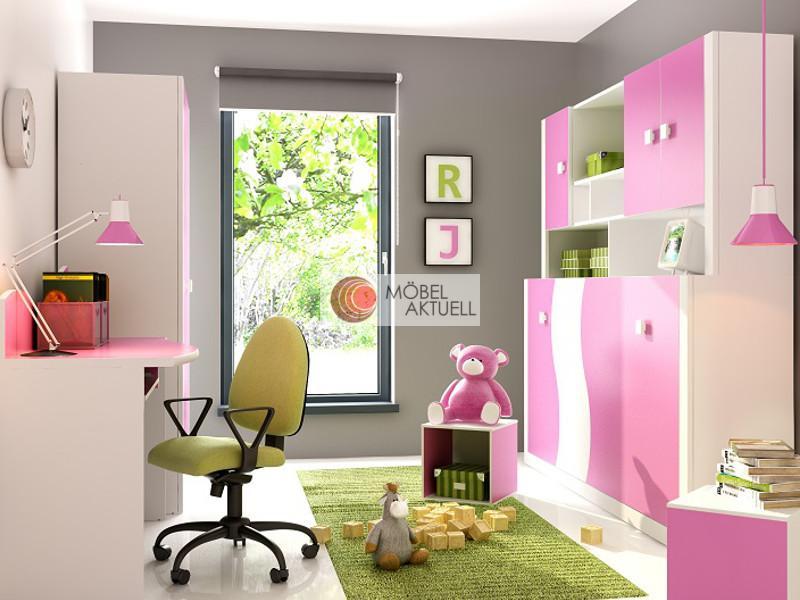 Jugendzimmer Schrankbett Kinderzimmer Wardrobe Mario.02 Weiß/ Pink ...