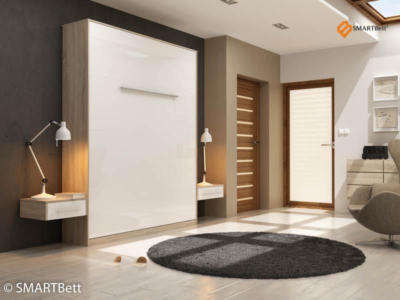 hochkantbett schrankbett smartbett 160x200 eiche sonoma front wei hochglanz ebay. Black Bedroom Furniture Sets. Home Design Ideas