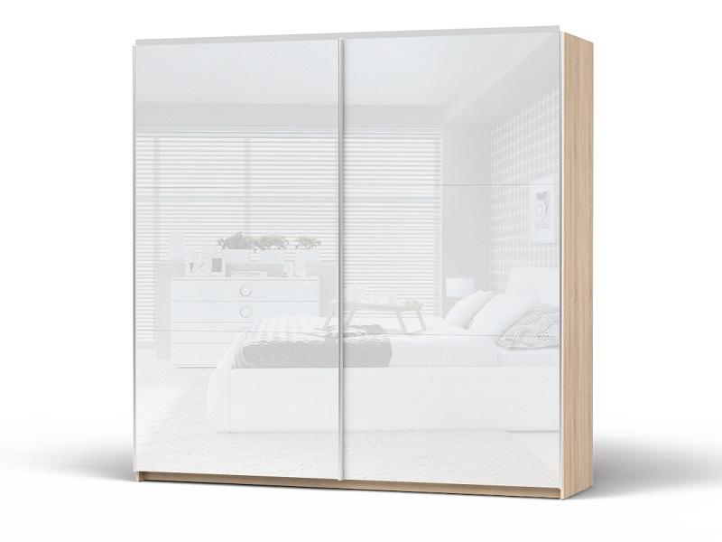 Schiebetuerenschrank Kleiderschrank Breite 220 cm Eiche Sonoma/Weiß ...