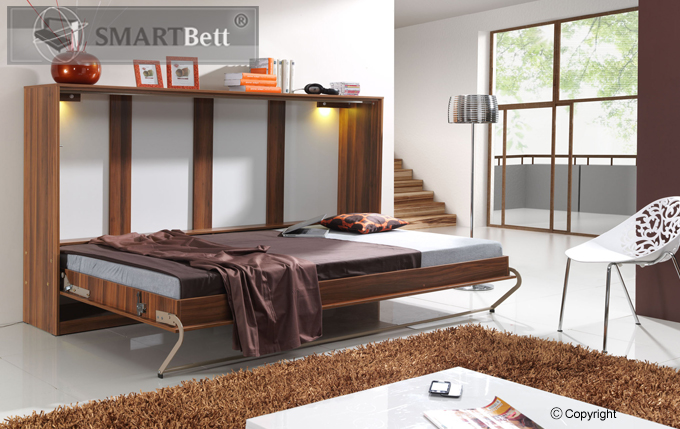 schrankbett smartbett querbett murphy bed 90x200cm. Black Bedroom Furniture Sets. Home Design Ideas