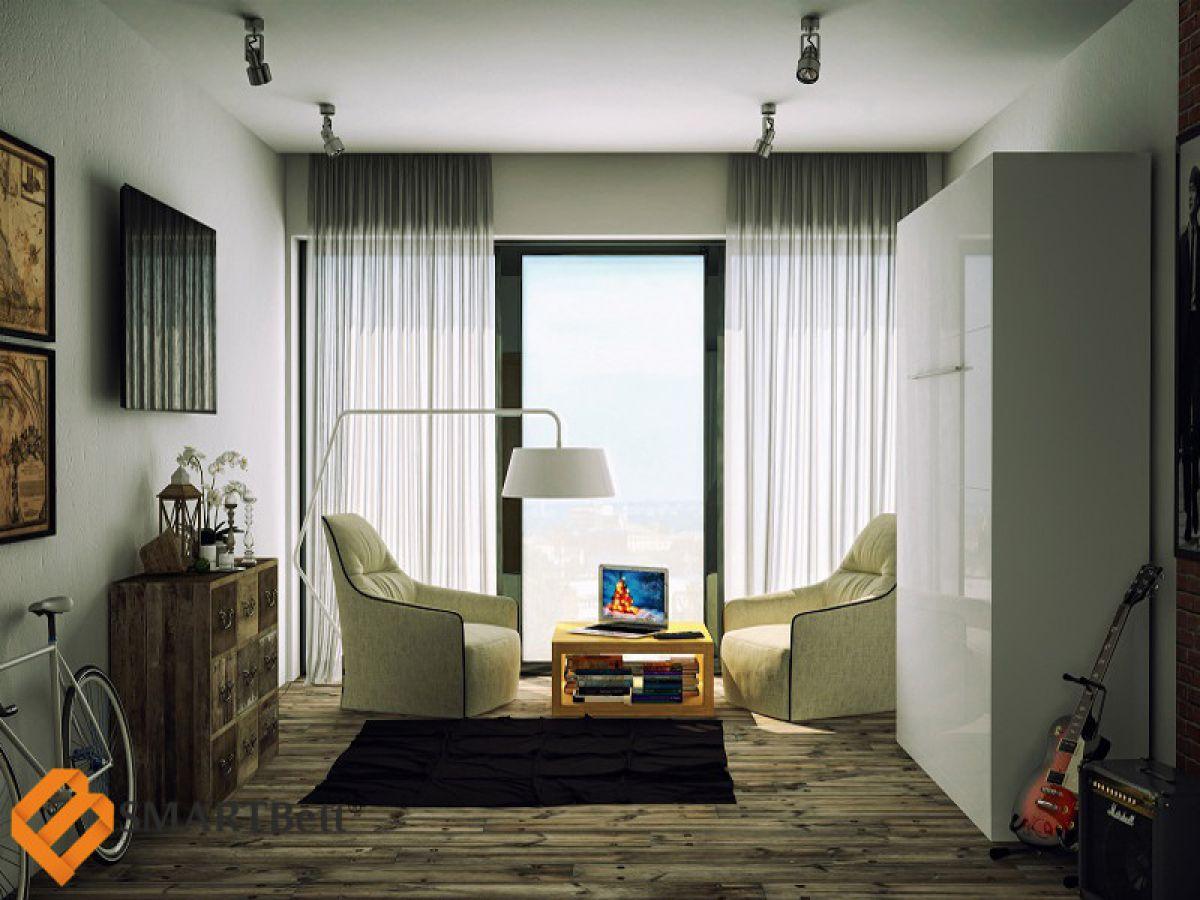 Schrankbett murphy bed klappbett gästebett smartbett 160x200 weiß ...