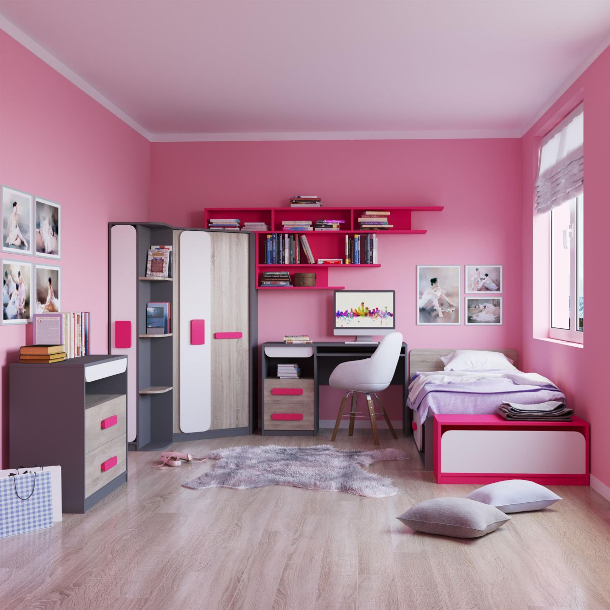 jugendzimmer eckkleiderschrank 7 tlg grau eiche wei pink ebay. Black Bedroom Furniture Sets. Home Design Ideas