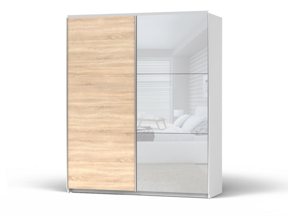 schiebet renschrank mit spiegelt ren colin breite 183 cm wei eiche sonoma ebay. Black Bedroom Furniture Sets. Home Design Ideas