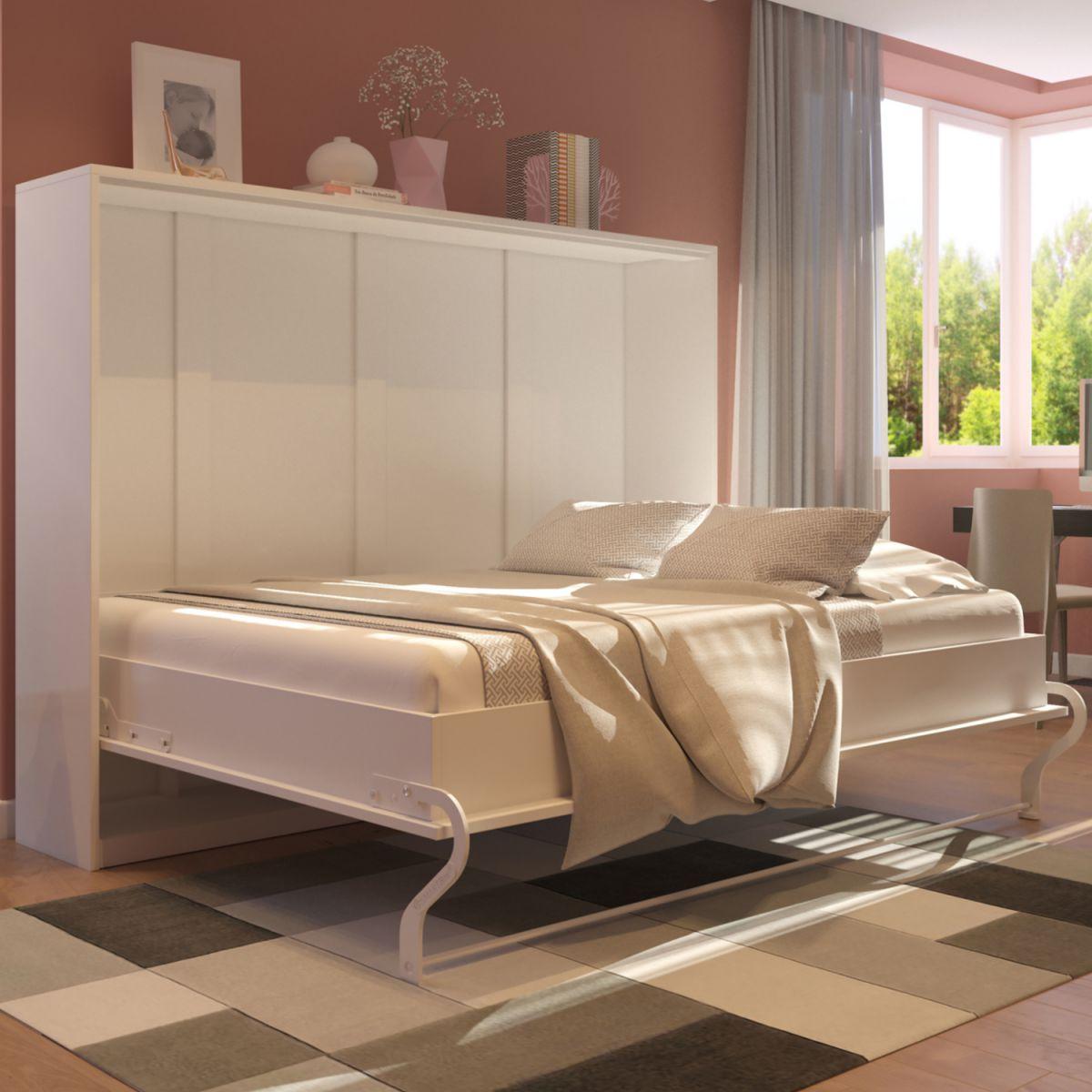 schrankbett 140 horizontal weiss hochglanzfront wandklappbett klappbett ebay. Black Bedroom Furniture Sets. Home Design Ideas