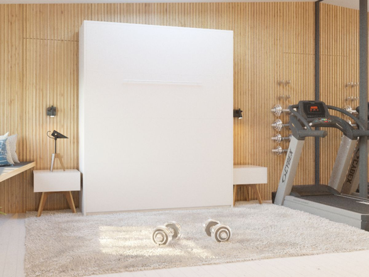 schrankbett hochkantbett murphy bed foldaway bed 160x200 wei smartbett ebay. Black Bedroom Furniture Sets. Home Design Ideas
