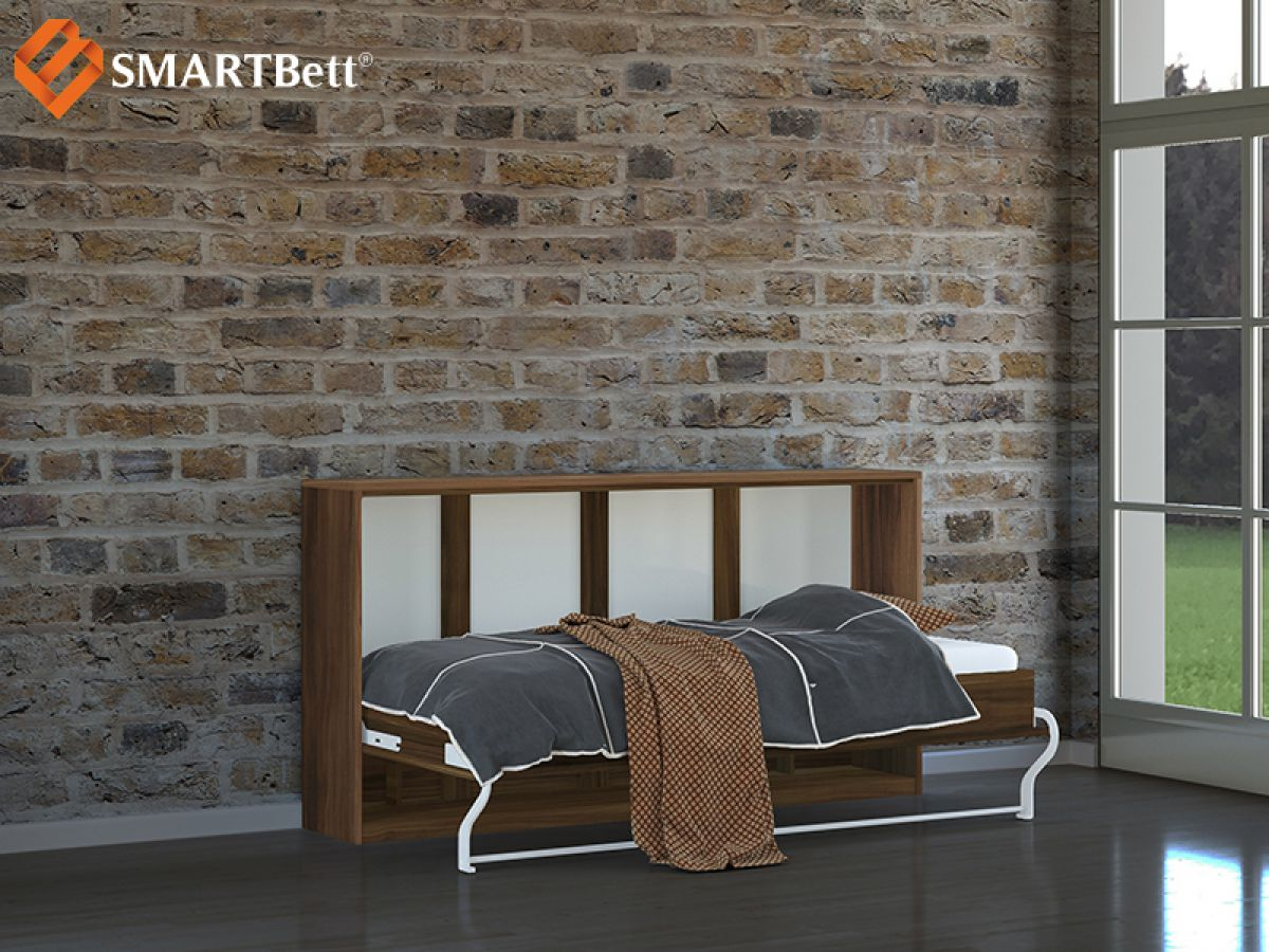 schrankbett 90cm horizontal pflaume wallis schrankklappbett wandklappbett ebay. Black Bedroom Furniture Sets. Home Design Ideas