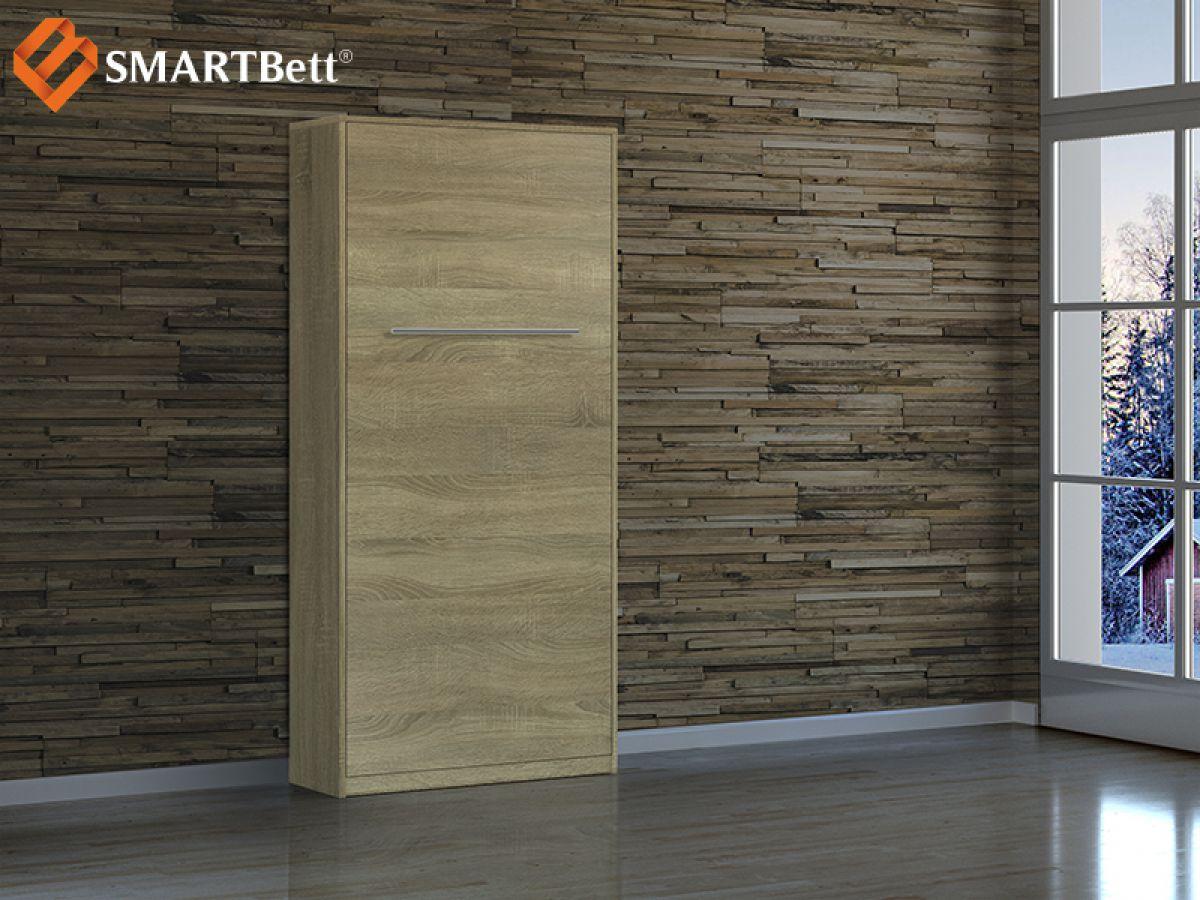 schrankbett hochkantbett 90cm vertikal eiche sonoma smartbett ebay. Black Bedroom Furniture Sets. Home Design Ideas