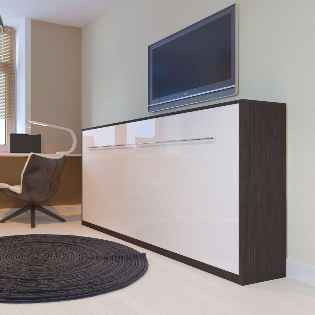 schrankbett 90x200 horizontal wenge wei e hochglanzfront smartbett ebay. Black Bedroom Furniture Sets. Home Design Ideas