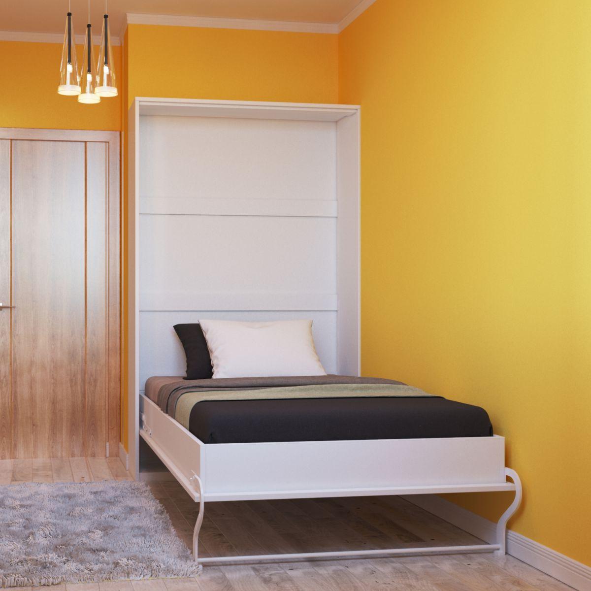 schrankbett 120x200 cm vertikal wei hochglanzfront schrankklappbett wandbett ebay. Black Bedroom Furniture Sets. Home Design Ideas