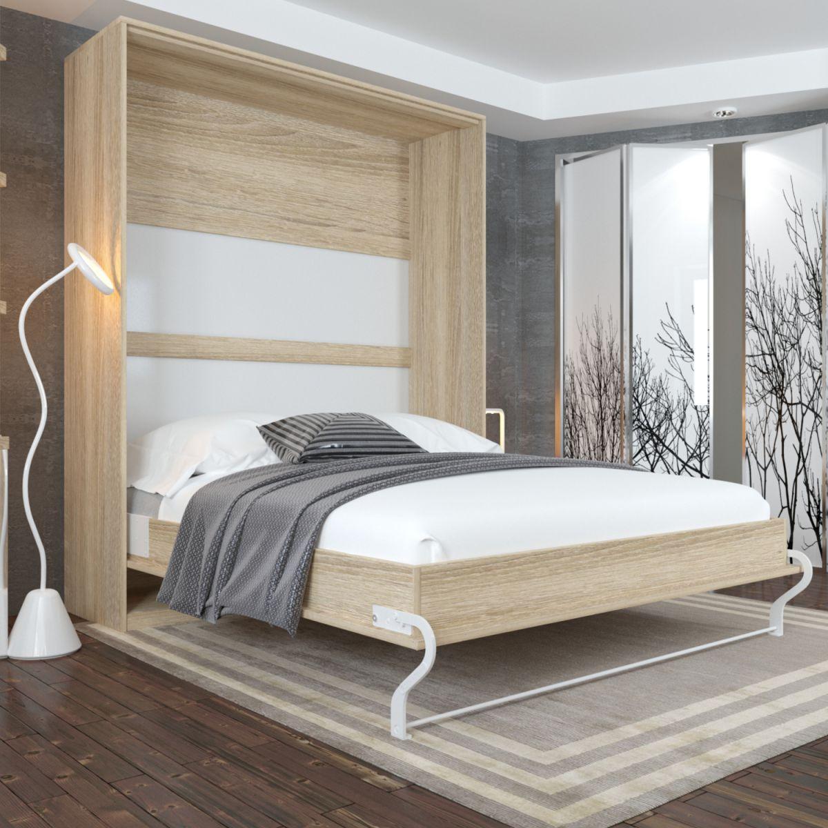 schrankbett 160x200 eiche sonoma smartbett mit gasdruckfeder 1900 n f r matratze ebay. Black Bedroom Furniture Sets. Home Design Ideas