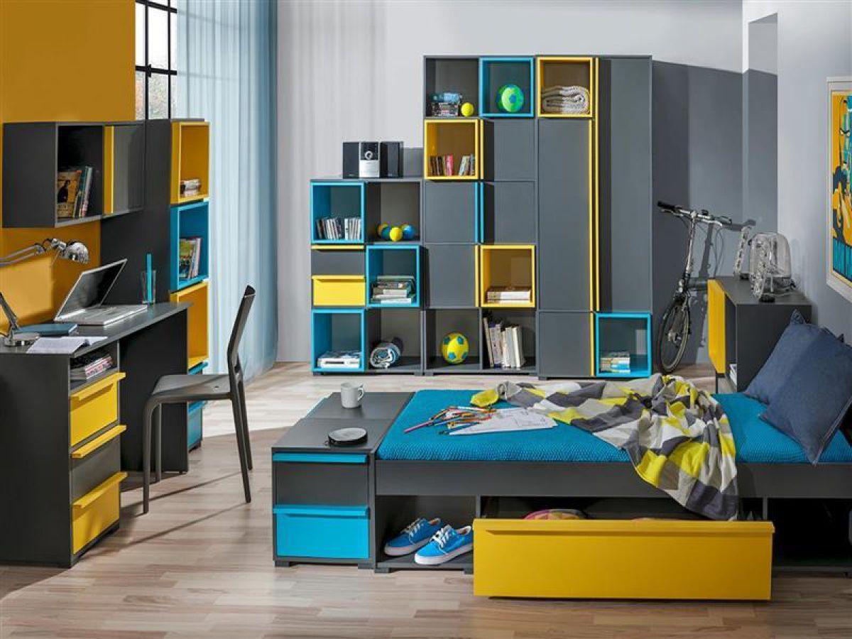 Jugendzimmer bico 01 9 tlg anthrazit blau gelb for Jugendzimmer ausstattung