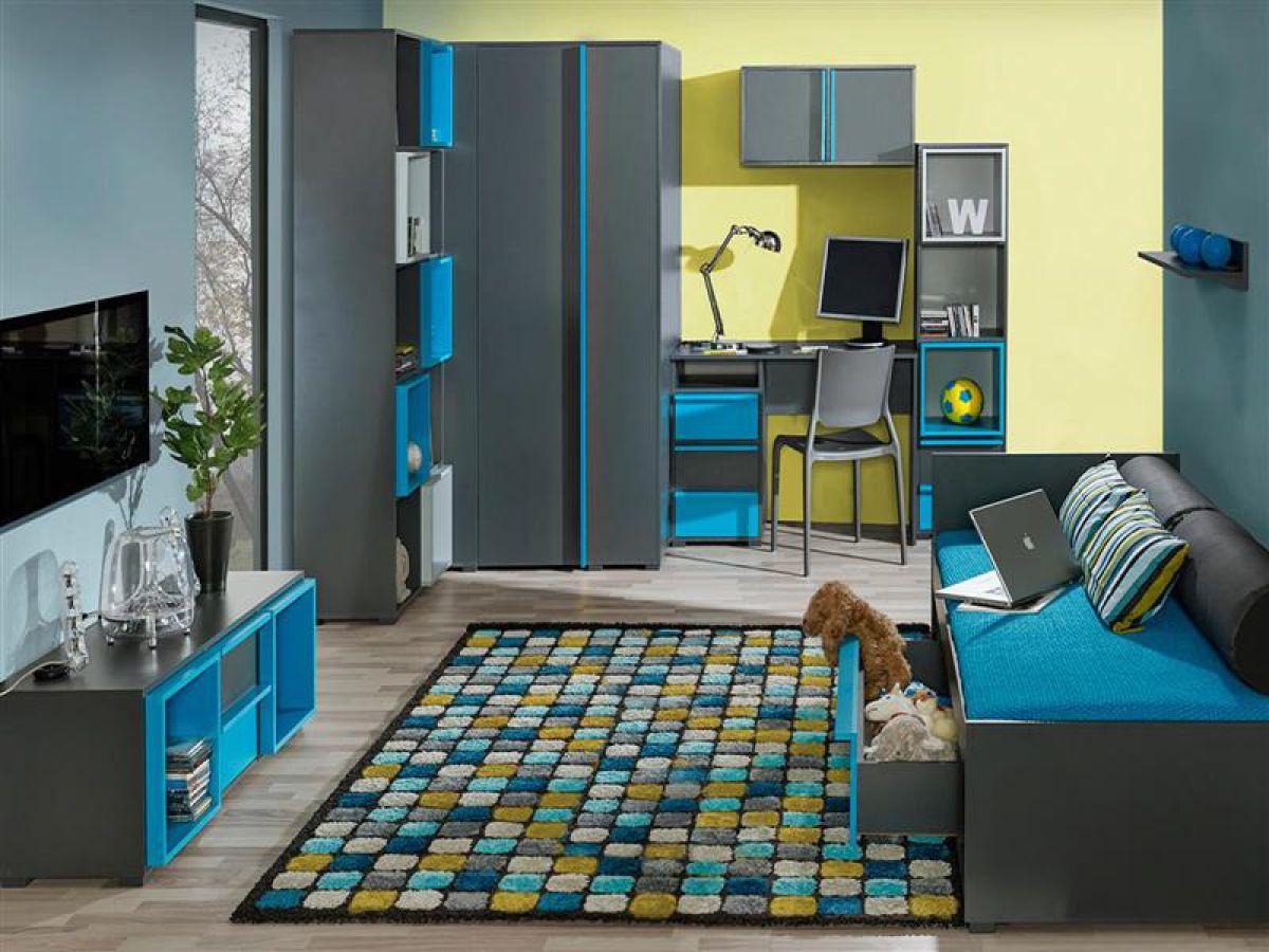 Jugendzimmer bico 03 7 tlg anthrazit blau kinderzimmer for Jugendzimmer ausstattung
