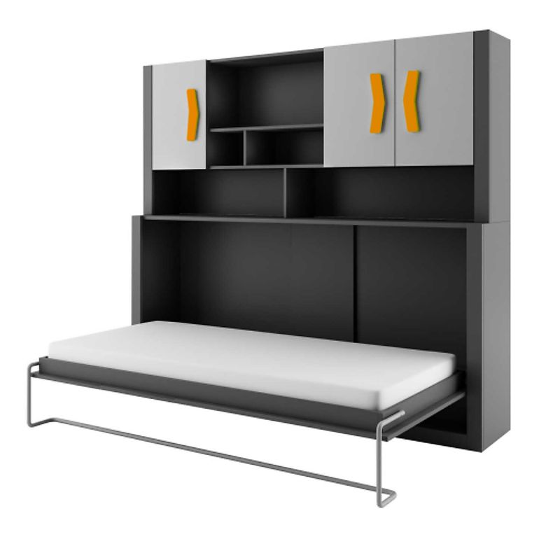 schrankbett kinderbett boomerang anthrazit grau orange ebay. Black Bedroom Furniture Sets. Home Design Ideas