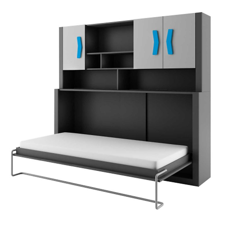 schrankbett kinderbett boomerang anthrazit grau turkis klappbett wall bed ebay. Black Bedroom Furniture Sets. Home Design Ideas