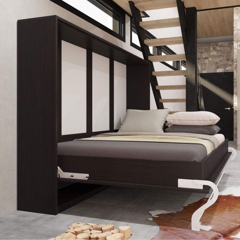 schrankbett 140 cm horizontal smartbett verschiedene farben schrankklappbett wa ebay. Black Bedroom Furniture Sets. Home Design Ideas