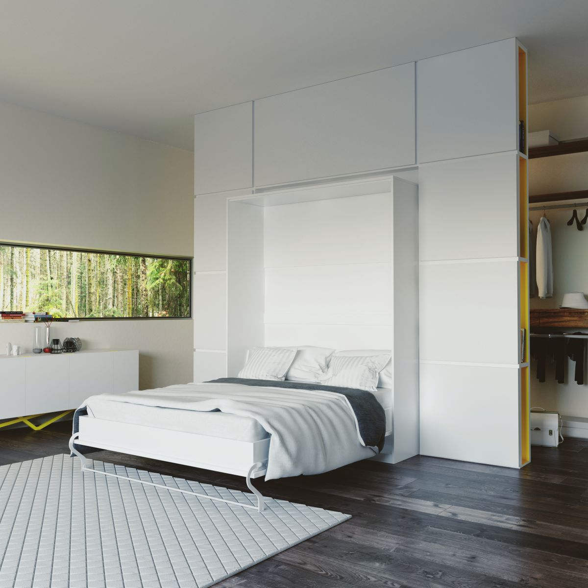 schrankbett 160 cm vertikal gasdruckfeder smartbett bettschrank montage ebay. Black Bedroom Furniture Sets. Home Design Ideas