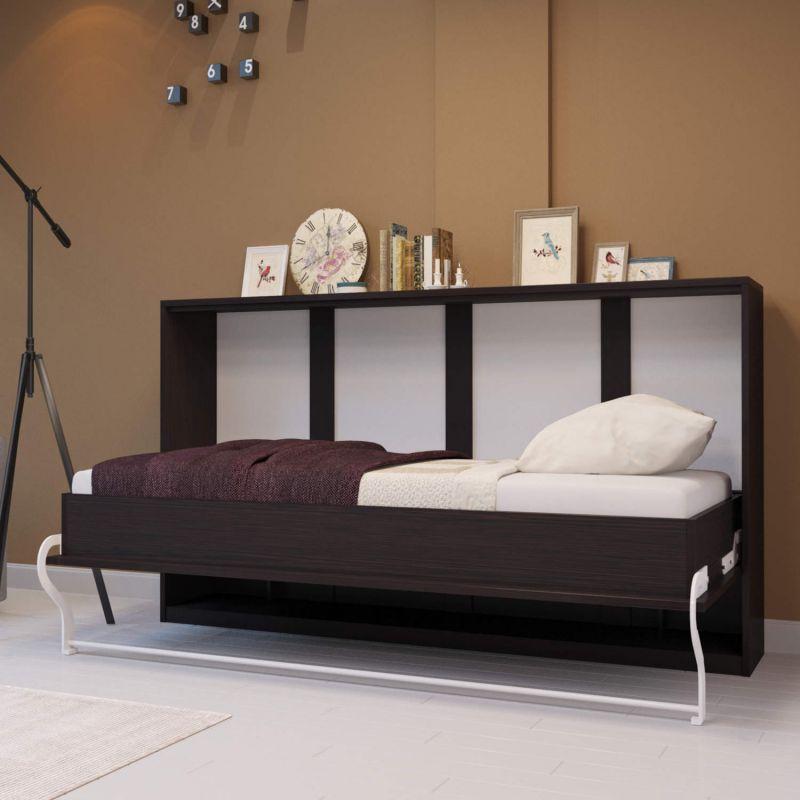 schrankbett 90cm horizontal smartbett verschiedene farben wandklappbett ebay. Black Bedroom Furniture Sets. Home Design Ideas