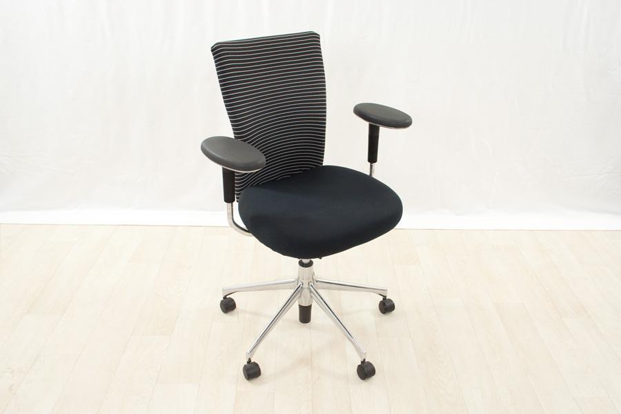 vitra t chair mit schwarz wei gestreiftem stoffbezug b rodrehstuhl b rostuhl ebay. Black Bedroom Furniture Sets. Home Design Ideas
