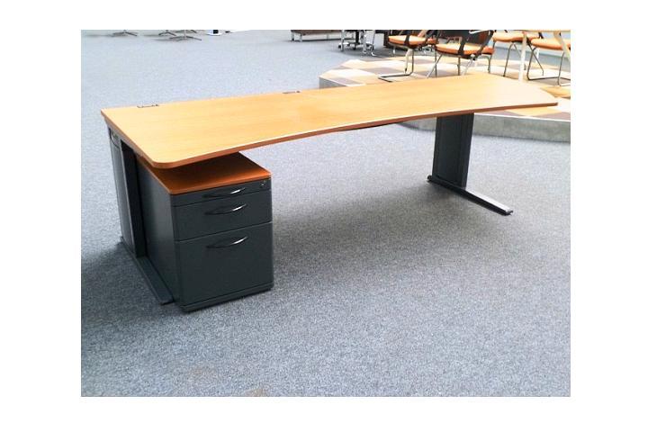 Freiform Schreibtisch + Container in kirsche Arbeitsplatz ...