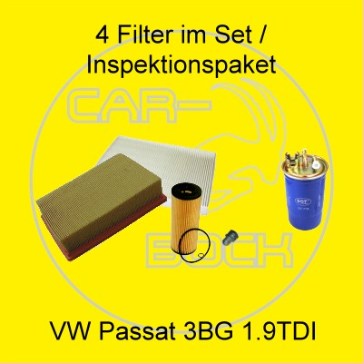 4 filter set inspektionspaket 1 9 tdi vw passat 3bg 74kw. Black Bedroom Furniture Sets. Home Design Ideas