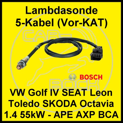 lambdasonde vor kat vw golf iv 4 1 4 16v 55kw motor ape. Black Bedroom Furniture Sets. Home Design Ideas