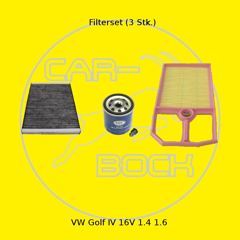 filter satz 3 stk inspektionspaket vw golf iv 4 1 4 16v 55kw 75ps 1 6 golf4 ebay. Black Bedroom Furniture Sets. Home Design Ideas