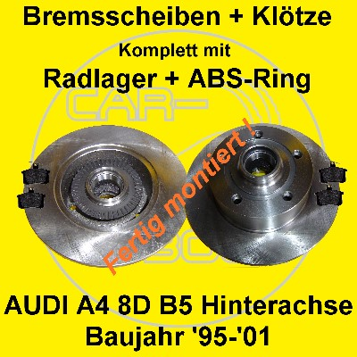 bremsscheiben bel ge radlager abs ring montiert audi a4 8d. Black Bedroom Furniture Sets. Home Design Ideas