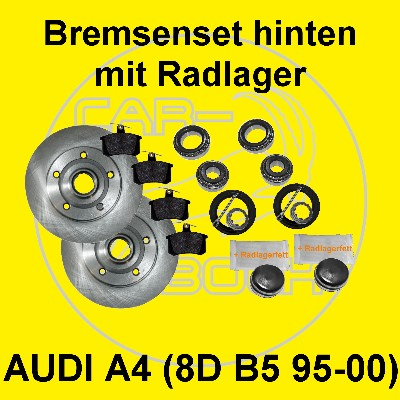 bremsscheiben mit radlager hinten f r audi a4 8d b5 ebay. Black Bedroom Furniture Sets. Home Design Ideas