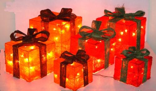 Weihnachtsdeko beleuchtete geschenke