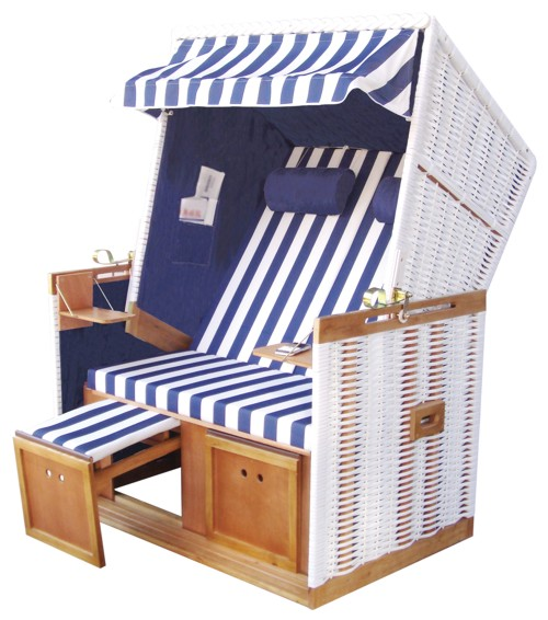 strandkorb nordsee blau weiss gestreift mit schutzh lle das gartenm bel ebay. Black Bedroom Furniture Sets. Home Design Ideas