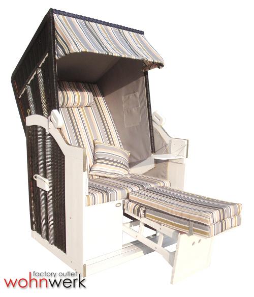 strandkorb bansin s single version 1 sitzer weisses holz ebay. Black Bedroom Furniture Sets. Home Design Ideas