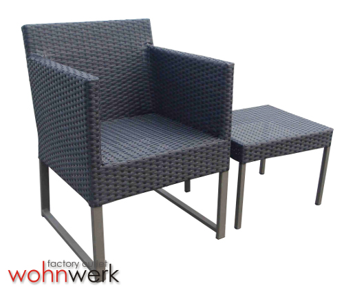 polyrattan set 2 sessel 1 hocker outdoor alu lounge