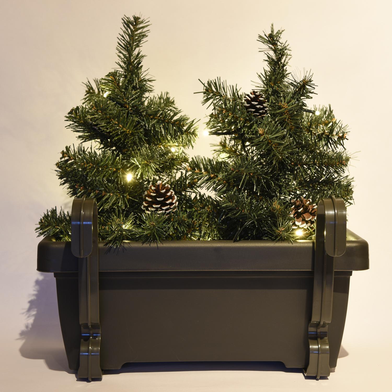 balkon weihnachtsbeleuchtung f r den blumenkasten mit 2 x mini weihnachtsb umen ebay. Black Bedroom Furniture Sets. Home Design Ideas