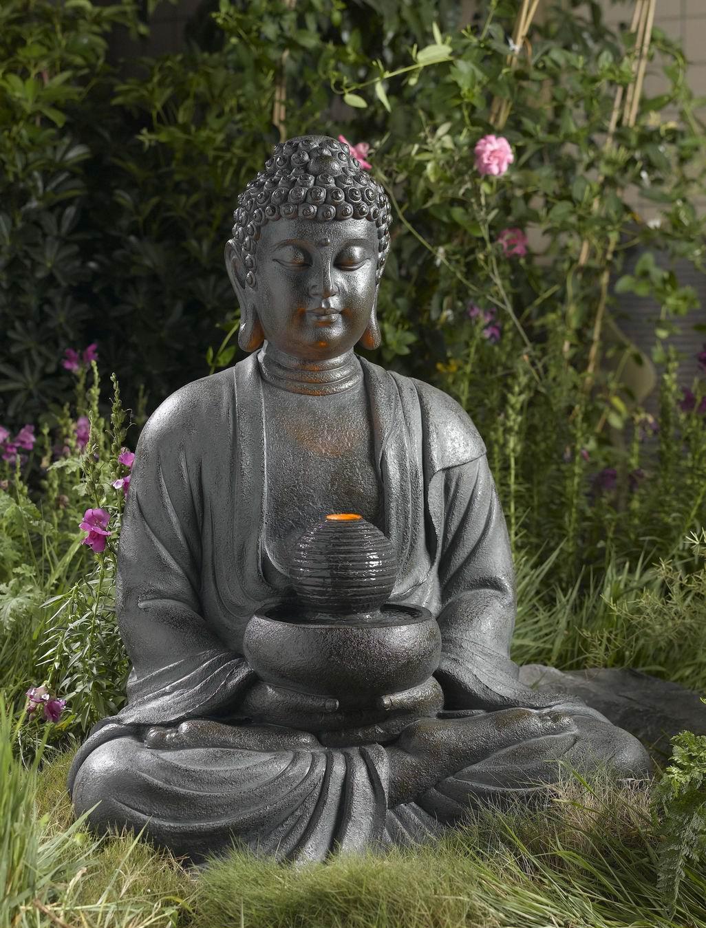 buddha brunnen mit led licht 84cm h he f r innen und aussen ebay. Black Bedroom Furniture Sets. Home Design Ideas